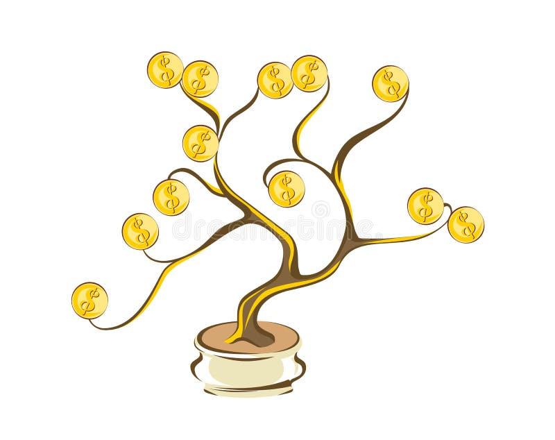 Дерево денег с золотыми монетками Золотые доллары на деревянных ветвях Стиль шаржа, изолированный на белой иллюстрации иллюстрация штока