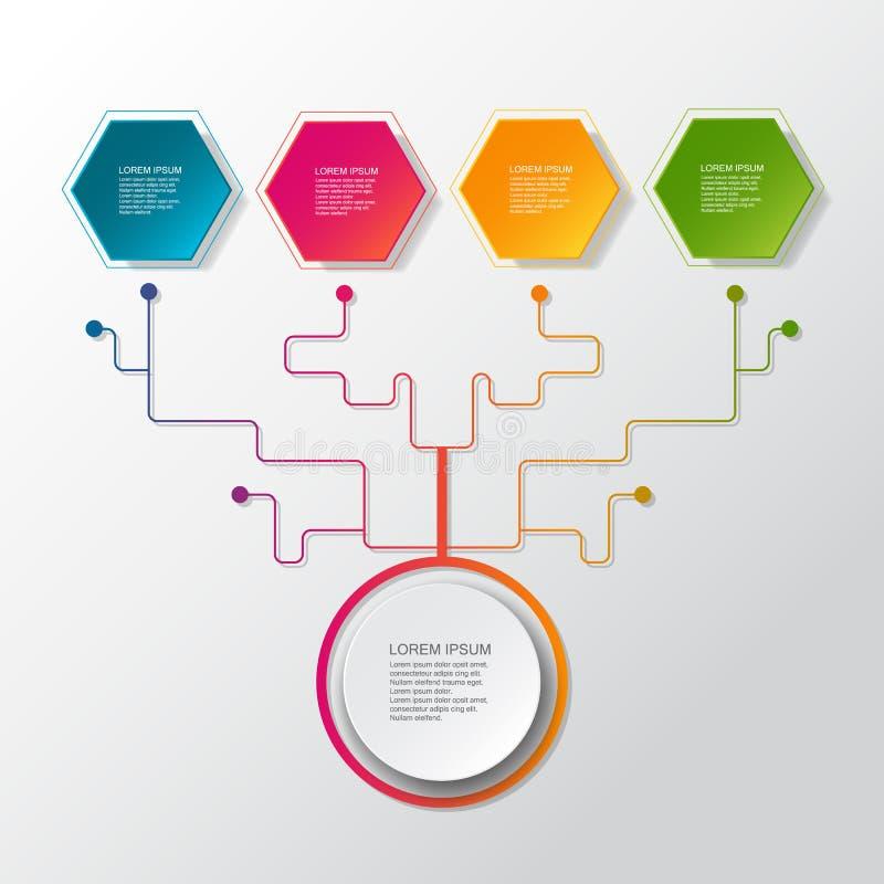 Дерево дела вектора infographic с ярлыком бумаги 3D, интегрированными кругами Пустое пространство для содержания, дела, infograph иллюстрация штока
