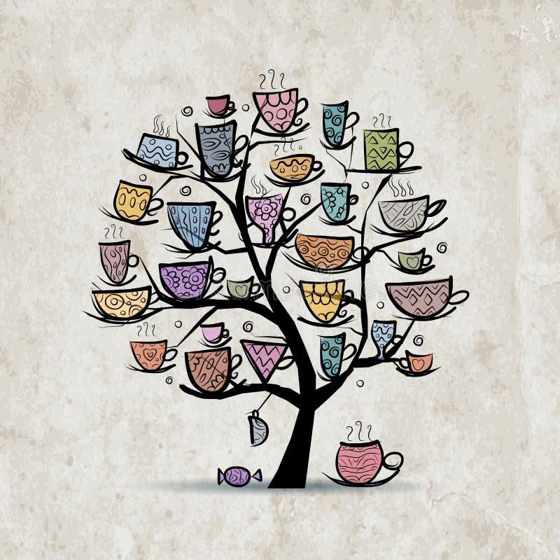 Дерево искусства с кружками и чашками Эскиз для вашего бесплатная иллюстрация