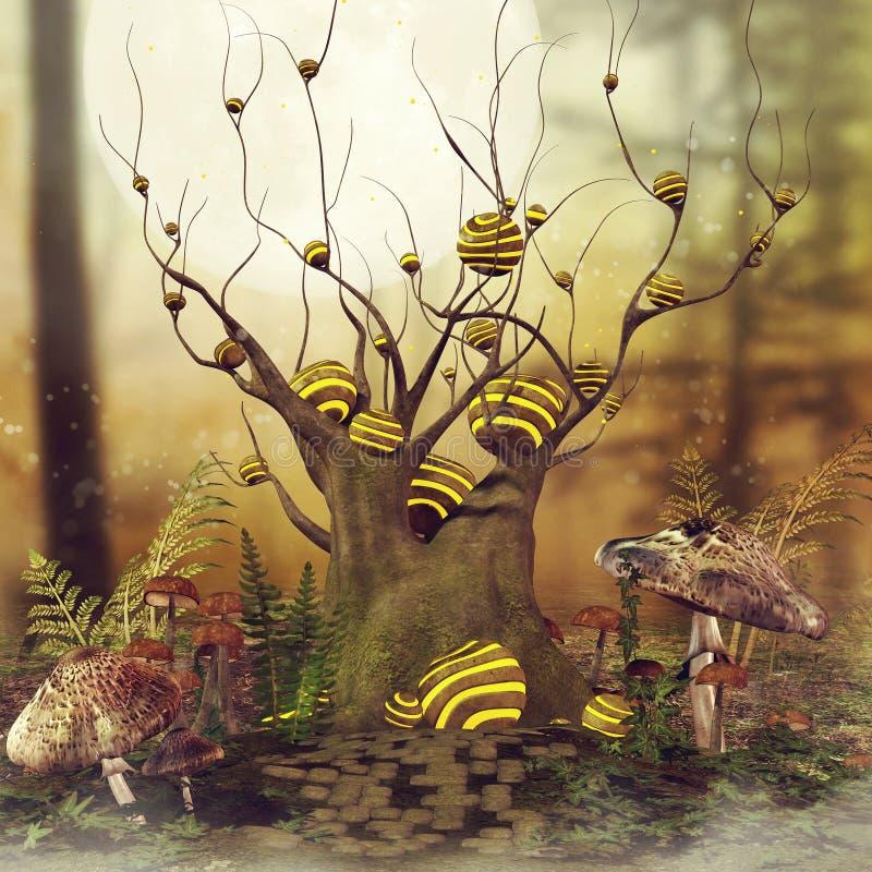 Дерево и грибы фантазии иллюстрация вектора