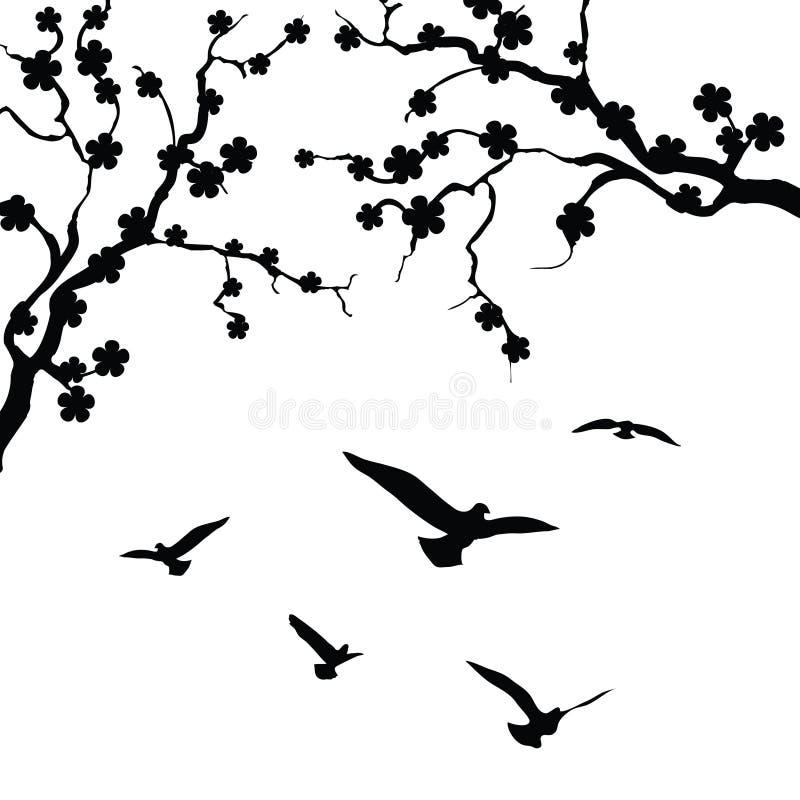 Дерево и птица бесплатная иллюстрация