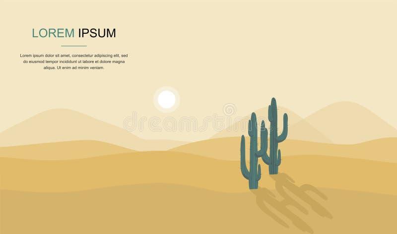 Дерево кактуса в иллюстрации вектора ландшафта пустыни бесплатная иллюстрация