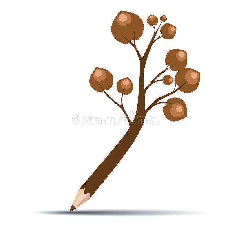 Дерево карандаша с коричневыми листьями бесплатная иллюстрация
