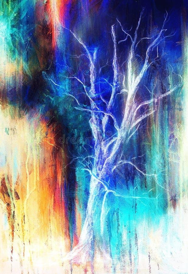 Дерево картины в ландшафте ночи и абстрактной предпосылке grunge с пятнами, первоначально притяжка руки и коллаж компьютера иллюстрация вектора
