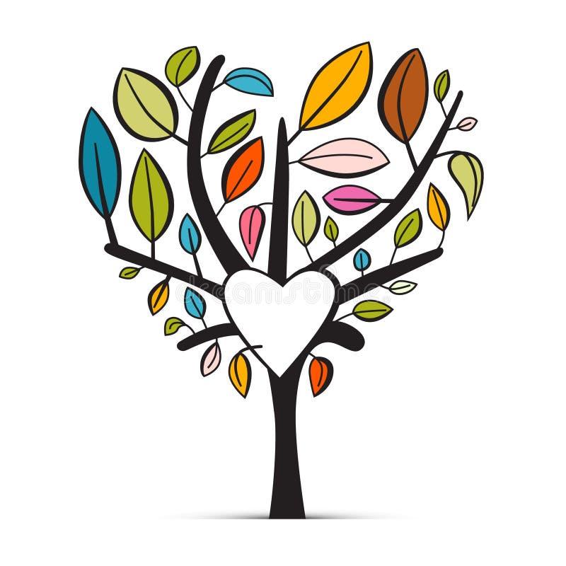 Дерево красочного абстрактного сердца форменное бесплатная иллюстрация