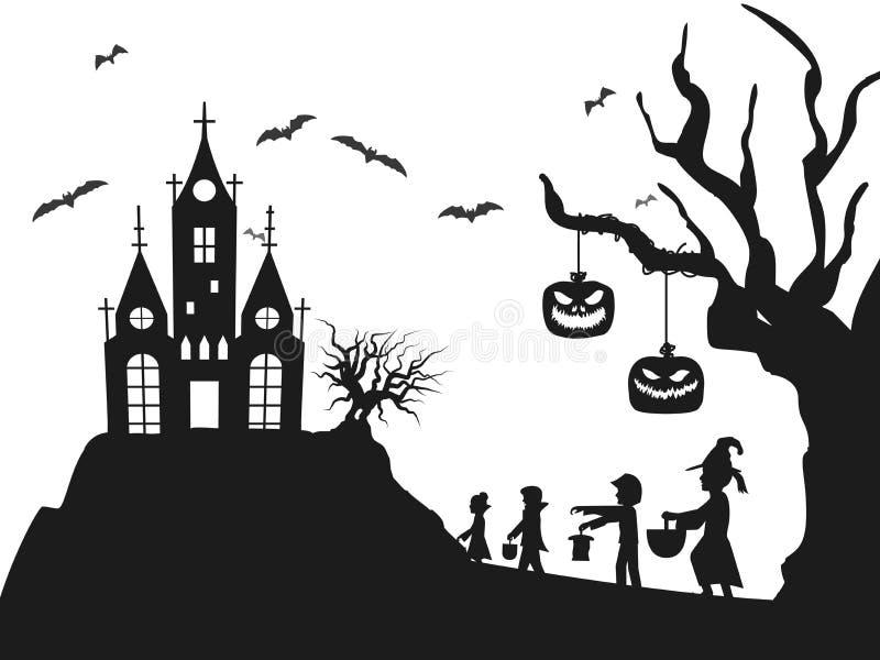 Дерево летучей мыши cids костюма силуэта замка хеллоуина бесплатная иллюстрация