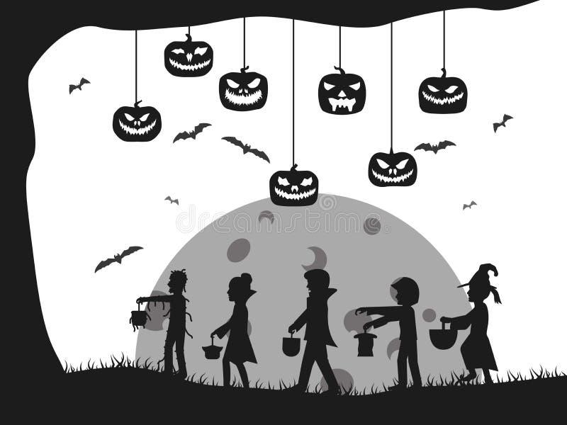 Дерево летучей мыши cids костюма силуэта замка хеллоуина иллюстрация штока