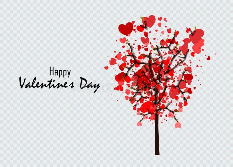 Дерево любов с листьями от формы сердца Идея дня свадеб или Валентайн для вашего дизайна иллюстрация штока