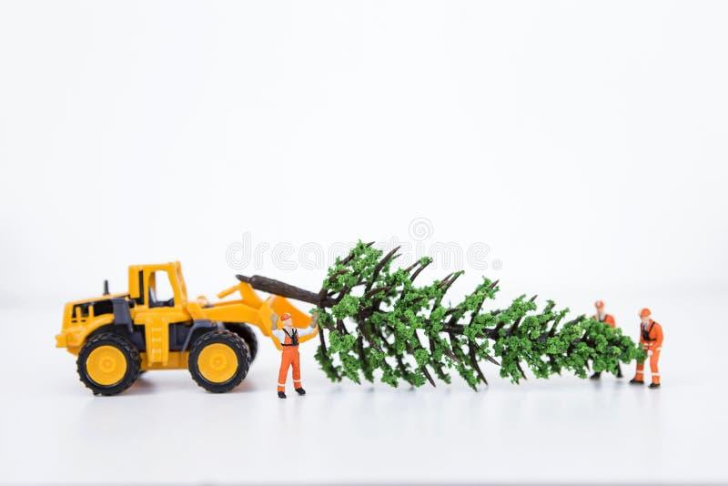 Дерево миниатюрного работника moving модельное и передняя тележка затяжелителя стоковое изображение