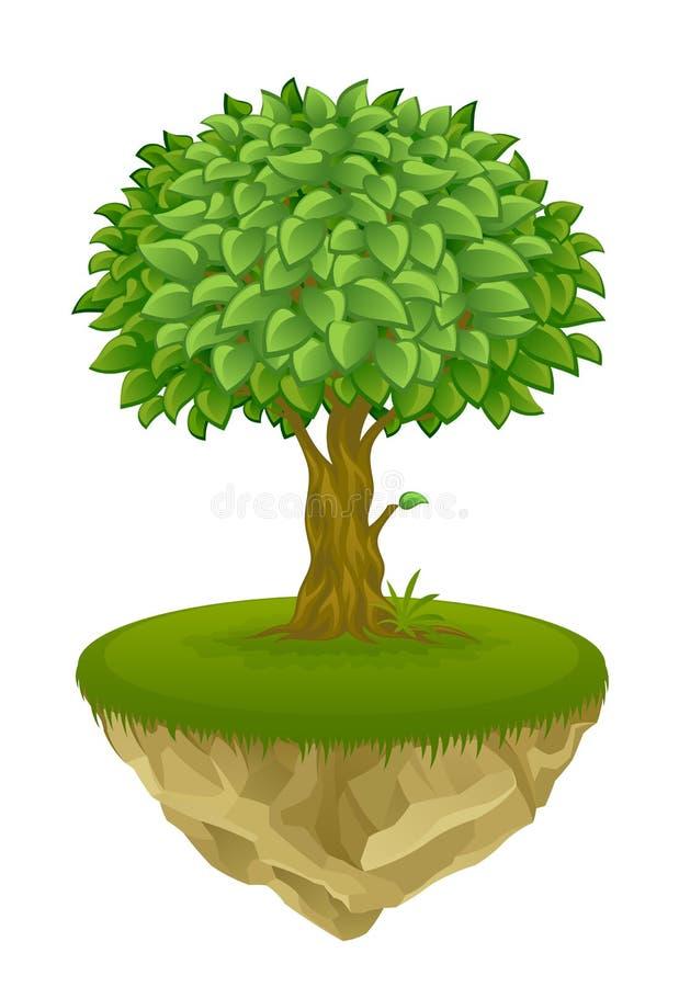 Дерево на острове бесплатная иллюстрация