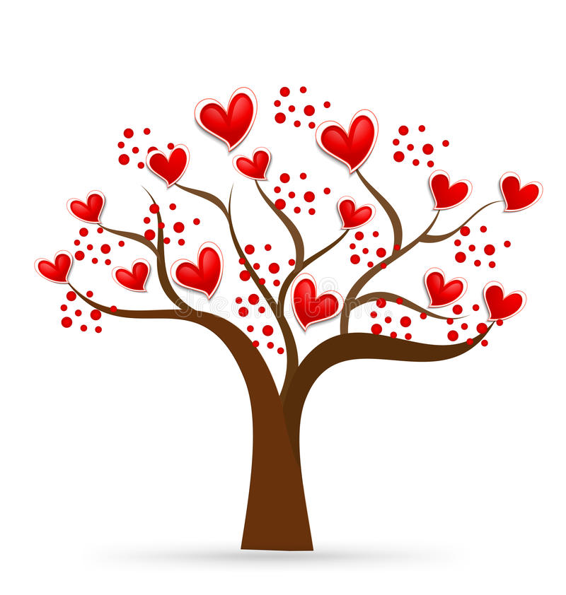 Дерево логотипа сердец валентинок влюбленности иллюстрация штока