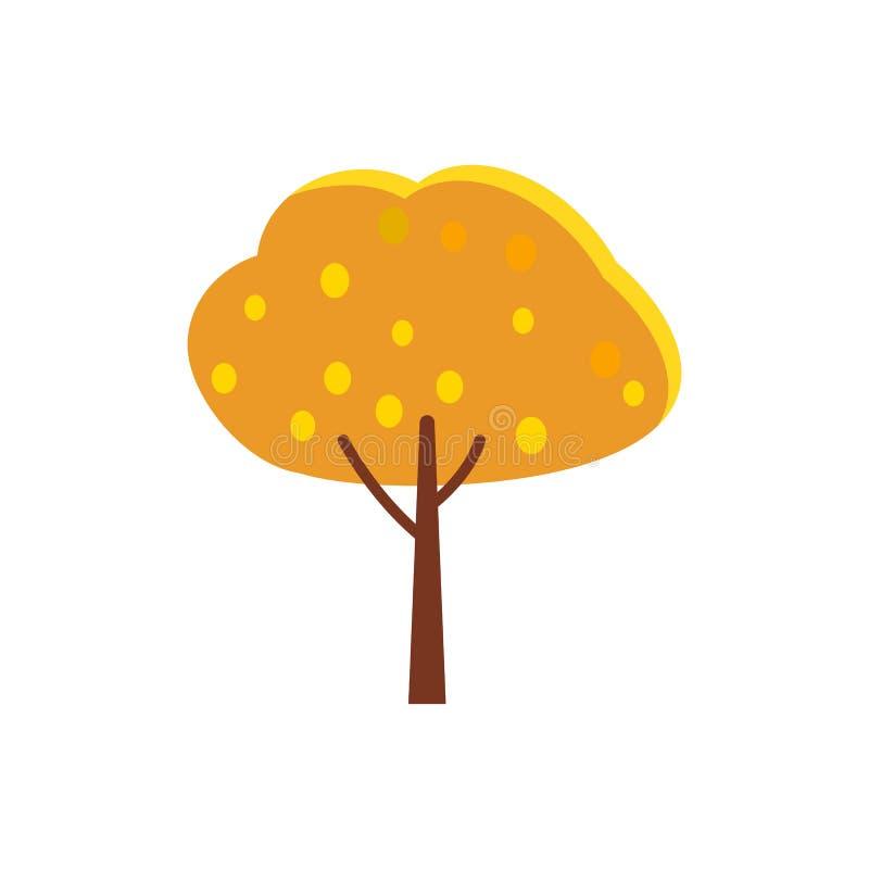 Дерево осени с оранжевыми листьями кроны и желтого цвета иллюстрация вектора