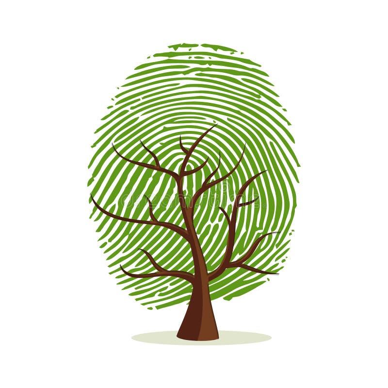 Дерево отпечатка пальцев для человеческой концепции идентичности иллюстрация вектора