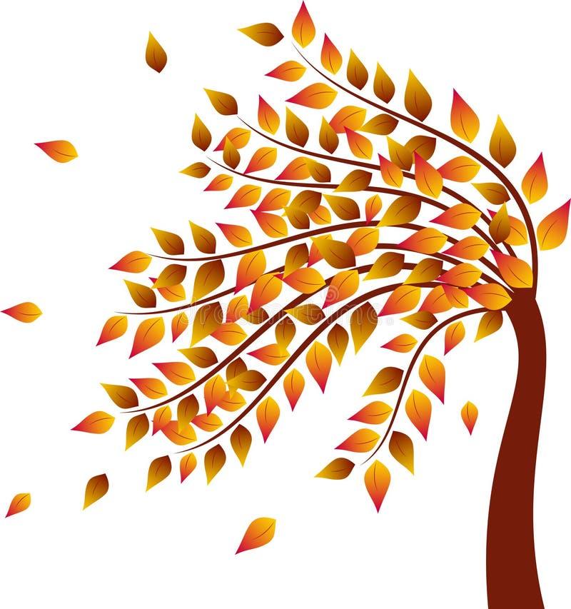Дерево падения, желтый цвет выходит иллюстрация дерева осени иллюстрация штока