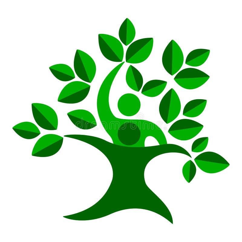 Дерево природы семьи зеленого цвета, символ команды бесплатная иллюстрация