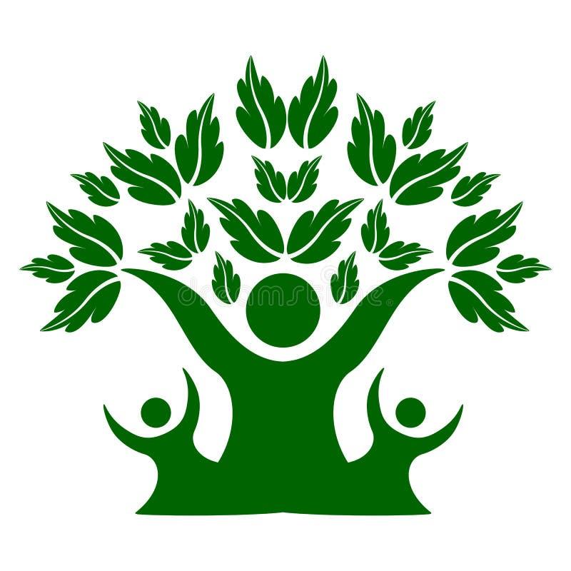 Дерево природы семьи зеленого цвета, символ команды иллюстрация вектора