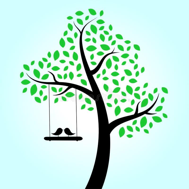 Дерево птиц влюбленности иллюстрация штока