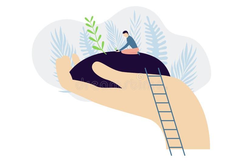 Дерево растя в руке Человек засаживая дерево Концепция предохранения от экологичности Современная плоская иллюстрация вектора иллюстрация штока