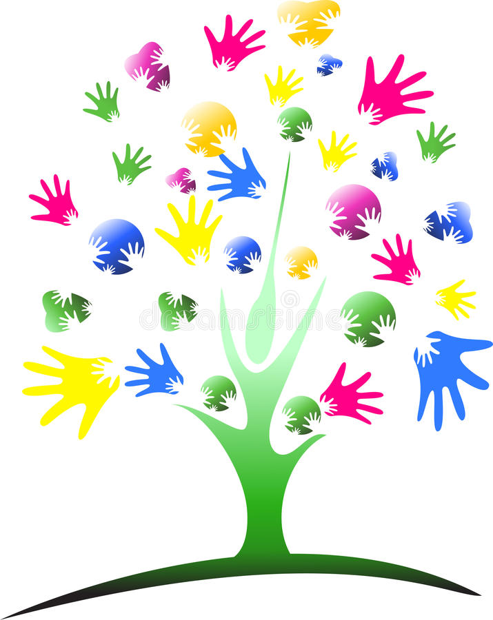 Дерево руки разнообразия мульти-этническое над предпосылкой картины нашивки иллюстрация штока