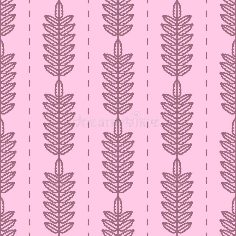 Дерево рябины выходит безшовная картина вектора Винтажный стиль и цвета (фиолетовые) иллюстрация вектора