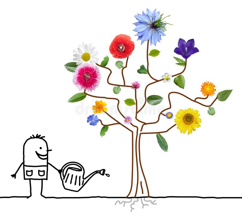 Дерево садовника шаржа моча цветя иллюстрация штока