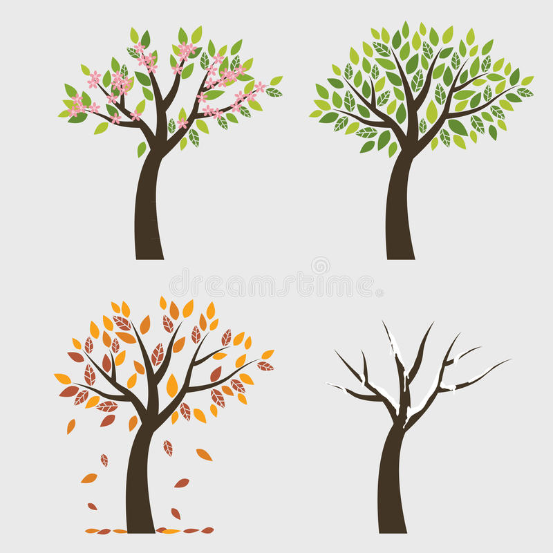 Дерево 4 сезона иллюстрация штока