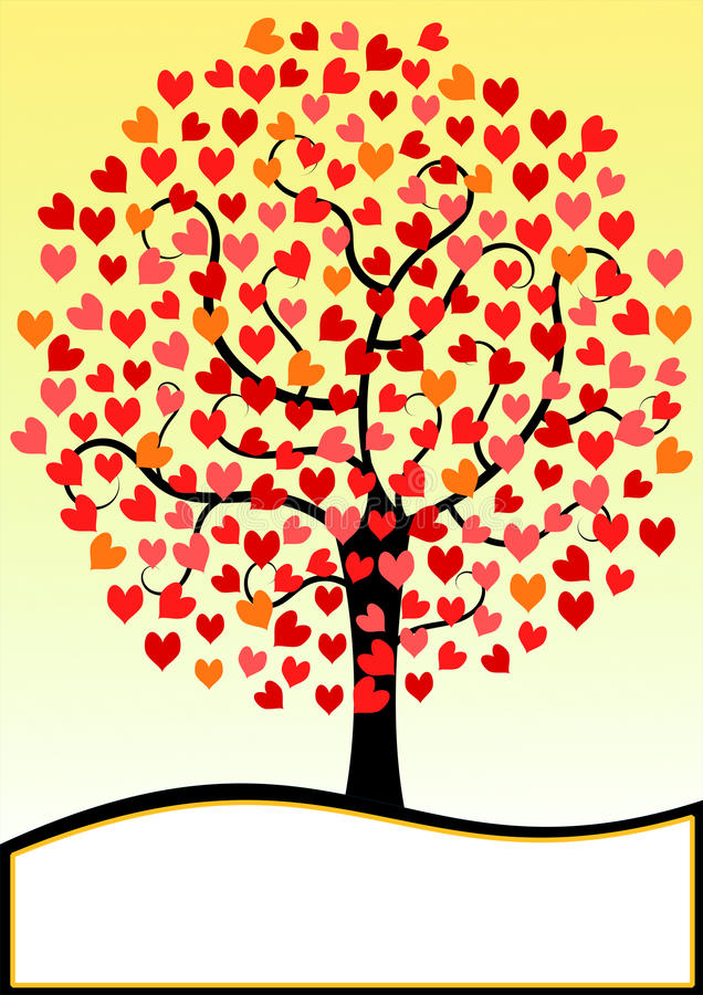 Дерево сердец карточки дня валентинок иллюстрация вектора