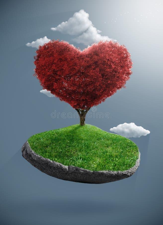 Дерево сердца на приостанавливанном утесе иллюстрация штока
