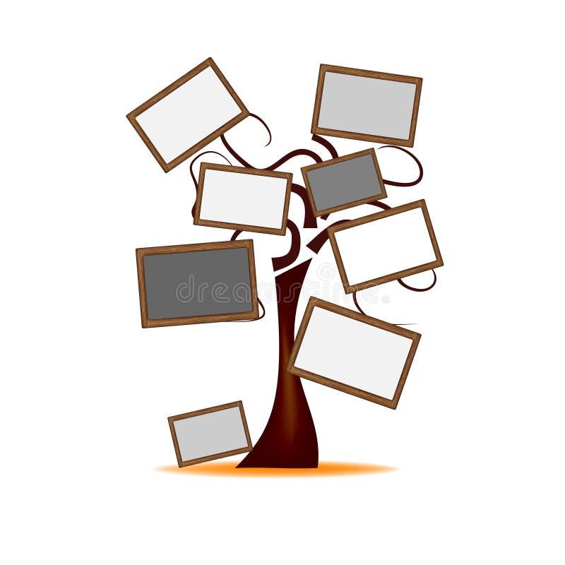 Дерево с деревянными досками иллюстрация вектора