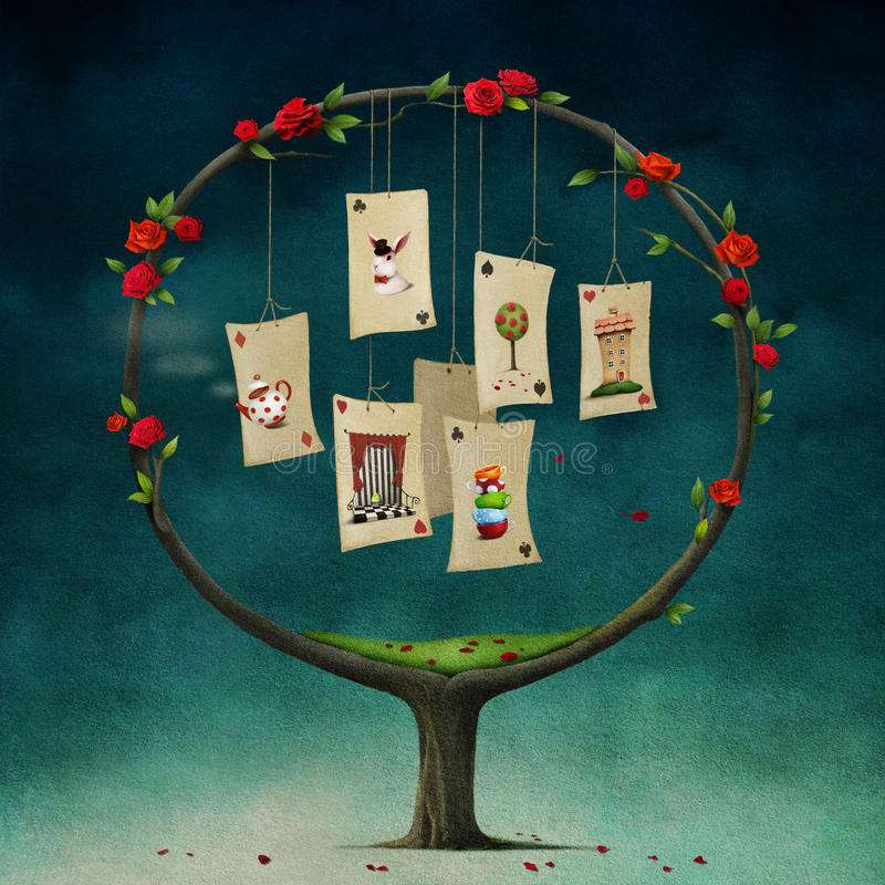 Дерево с карточками бесплатная иллюстрация