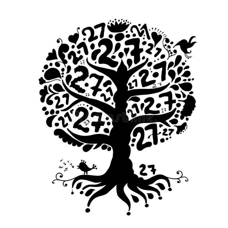 Дерево 27 с корнями для вашего дизайна бесплатная иллюстрация