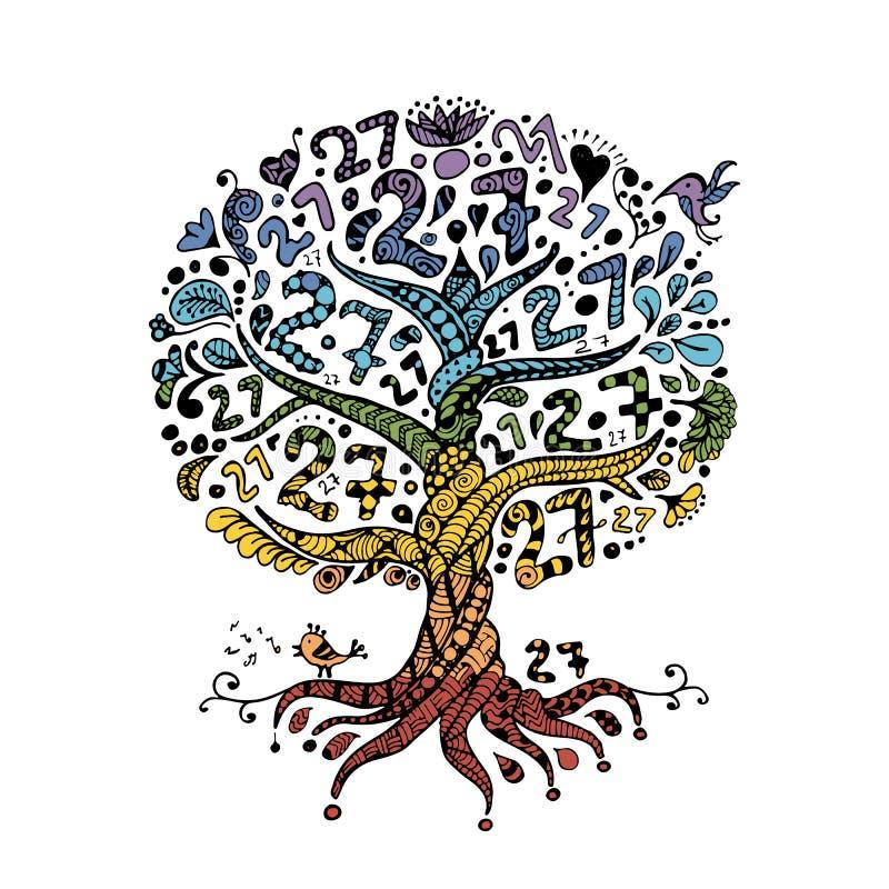 Дерево 27 с корнями, zentangle для вашего дизайна бесплатная иллюстрация