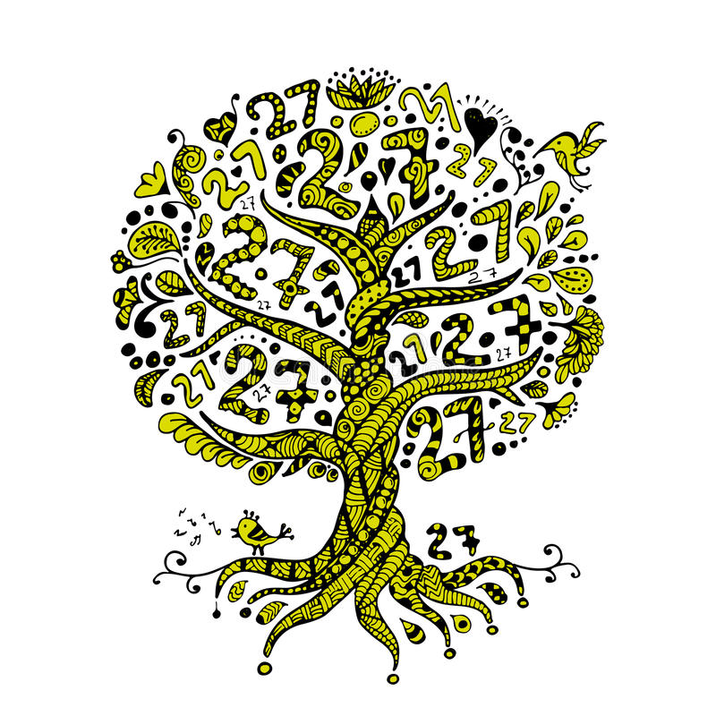 Дерево 27 с корнями, zentangle для вашего дизайна иллюстрация штока