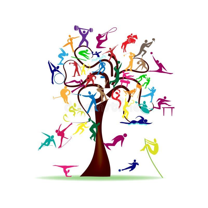 Дерево с красочными значками спорта иллюстрация вектора