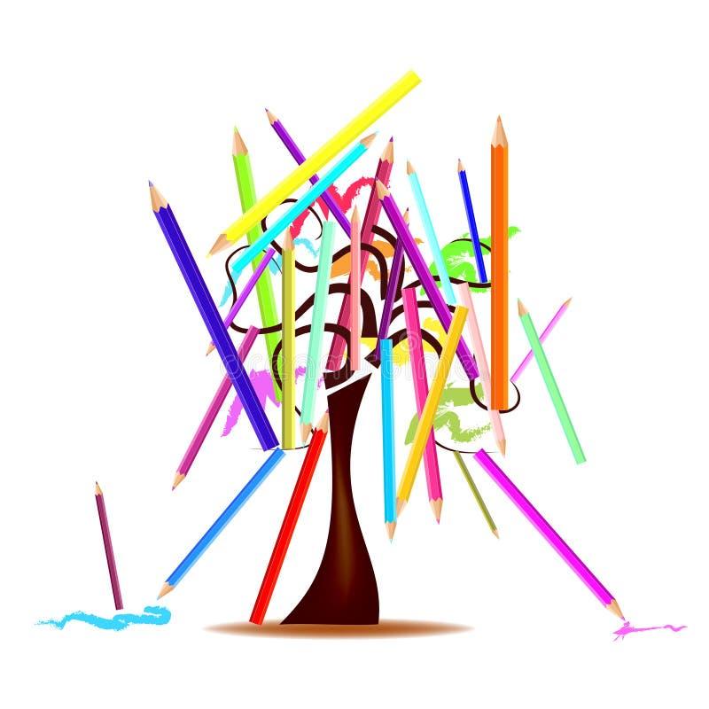 Дерево с покрашенными карандашами иллюстрация штока