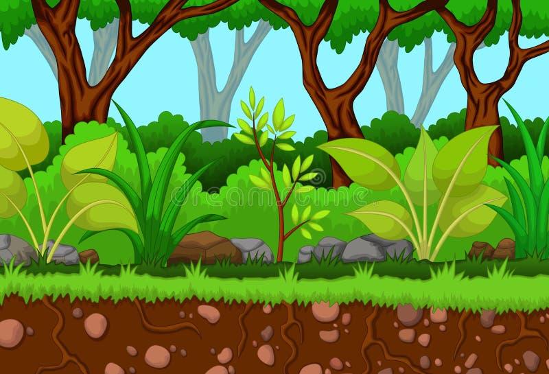 Дерево с предпосылкой ландшафта леса бесплатная иллюстрация