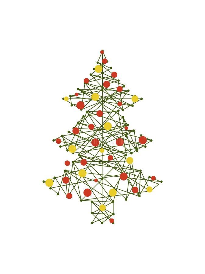 Дерево с тушей и шарики на иллюстрации вектора иллюстрация вектора