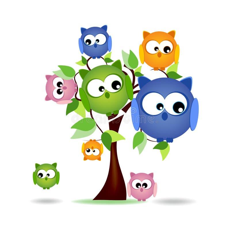 Дерево с цветастой семьей сычей бесплатная иллюстрация