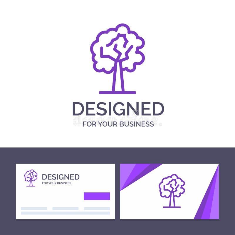 Дерево творческого шаблона визитной карточки и логотипа, завод, иллюстрация вектора роста иллюстрация вектора