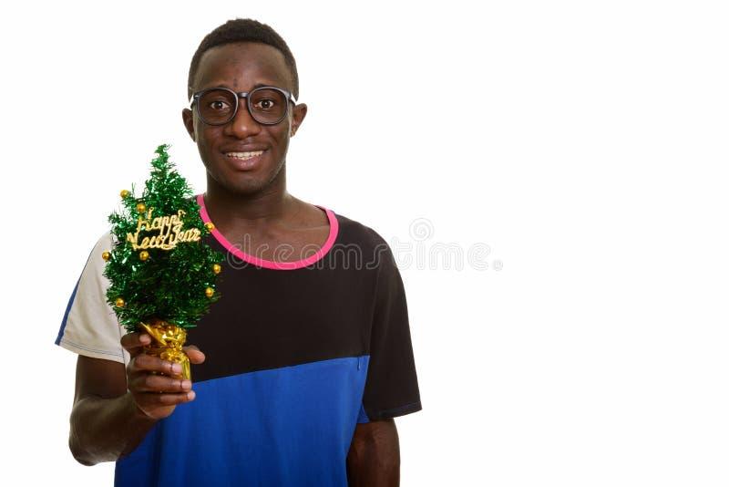 Дерево удерживания молодого счастливого африканского человека усмехаясь С Новым Годом! стоковая фотография rf