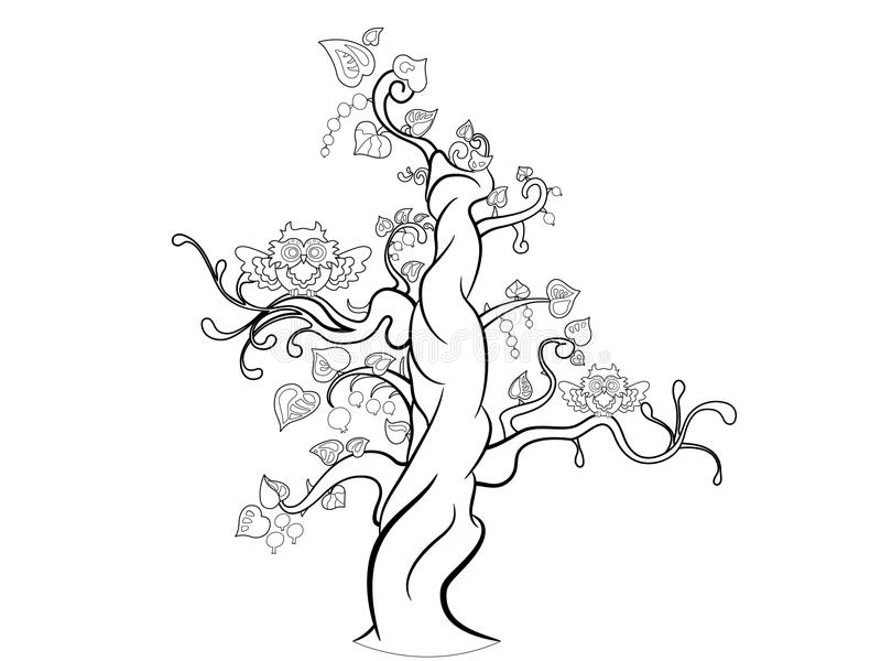 Дерево фантазии с 2 смешными сычами иллюстрация штока