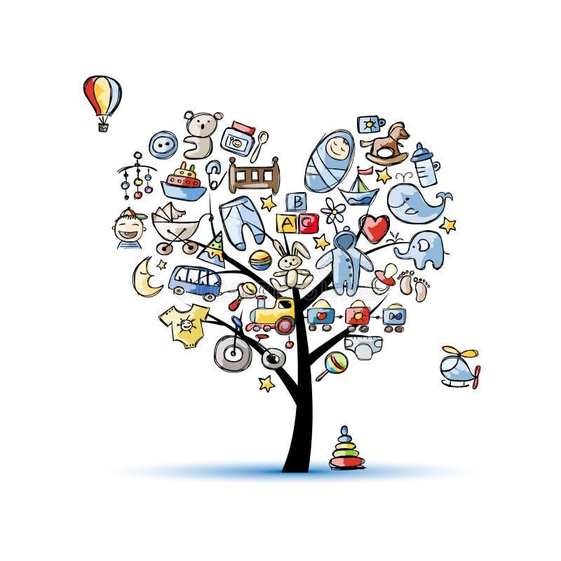 Дерево формы сердца с игрушками для ребёнка бесплатная иллюстрация