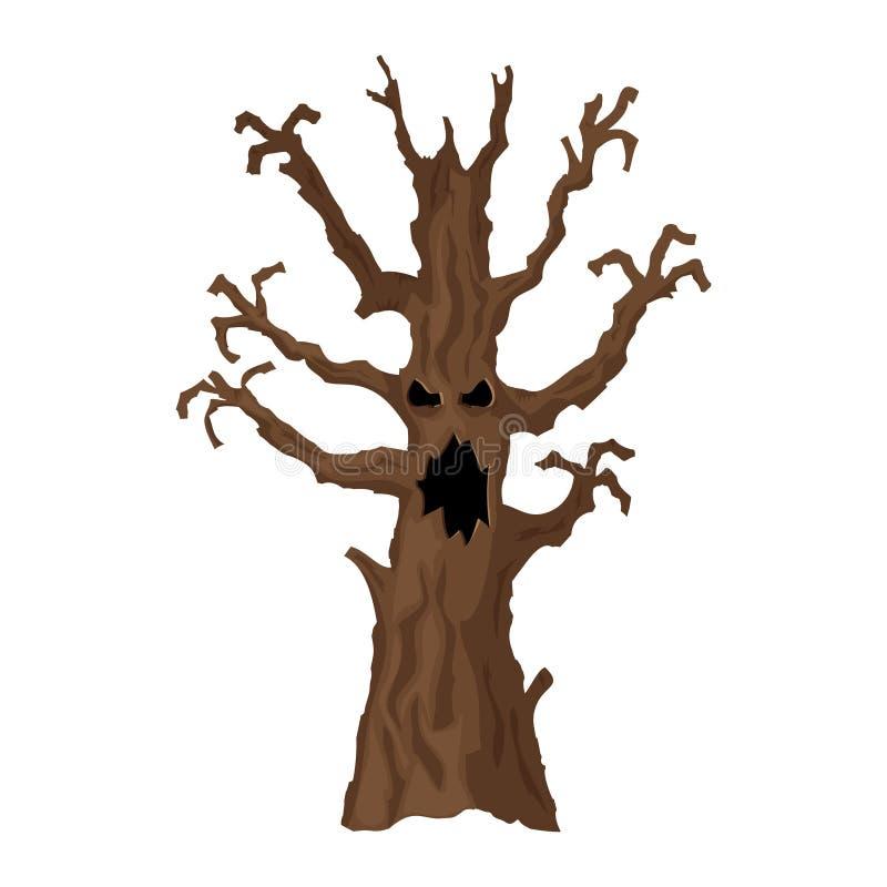 Дерево хеллоуина Значок хеллоуина изолированный на белой предпосылке бесплатная иллюстрация