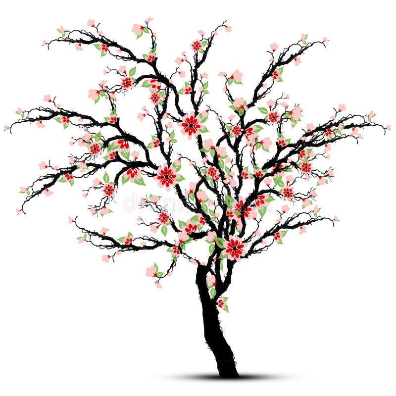 Дерево цветений вишни иллюстрация штока