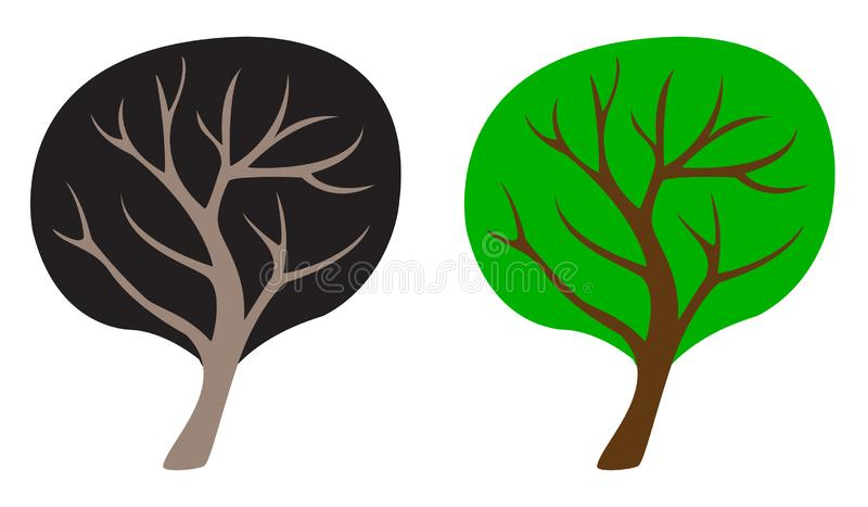 дерево 2 цветов, шаблон, символ иллюстрация штока