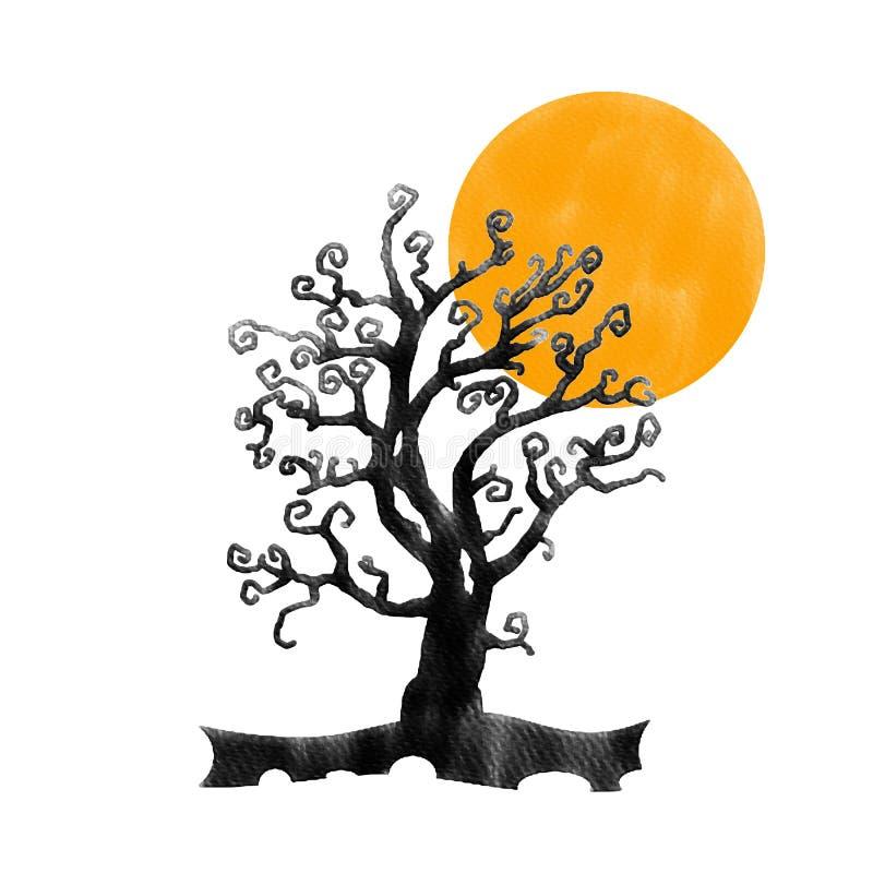 Дерево черноты хеллоуина большое и оранжевая луна, изображение картины цвета воды стоковое фото rf