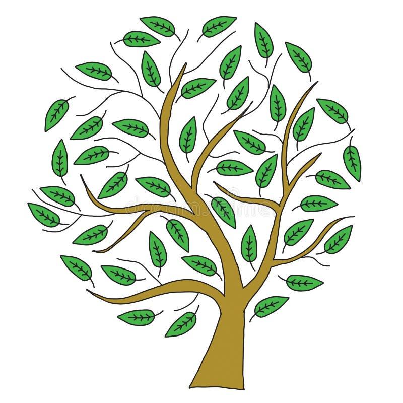 Дерево эскиза коричневое с зелеными листьями иллюстрация вектора
