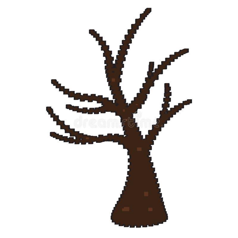 Дерево Pixelated нагое иллюстрация штока