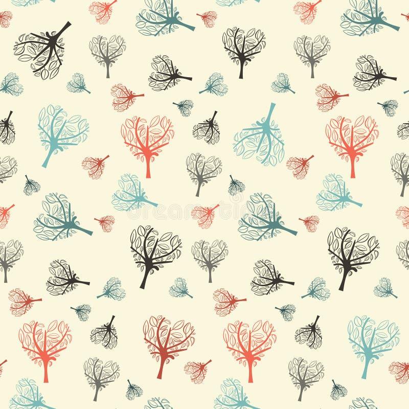 Деревья безшовного сердца дизайна вектора плоского форменные бесплатная иллюстрация