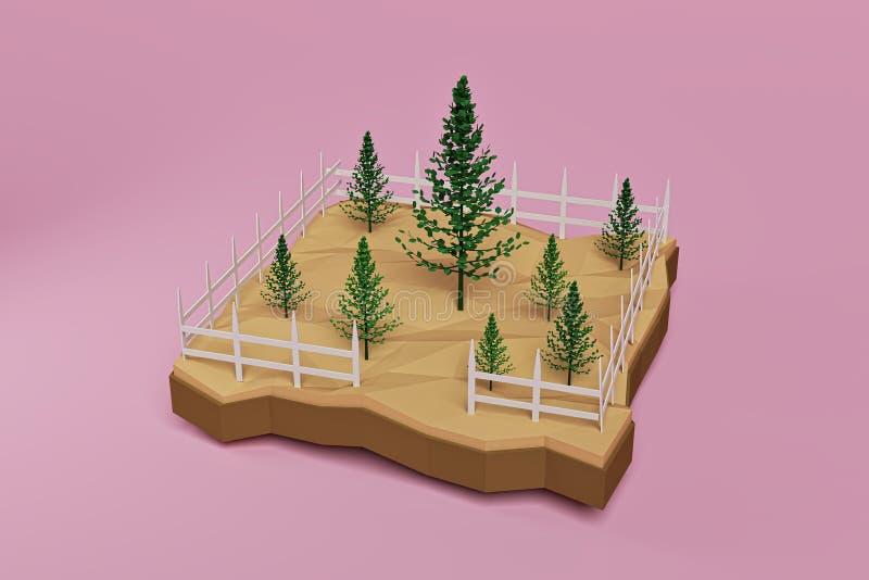 Деревья вместе с белизной обнесут забором розовую предпосылку, перевод 3d иллюстрация штока